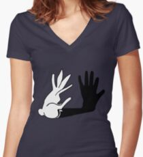 Easter Bunny Shadow Puppet Women's Fitted V-Neck T-Shirt