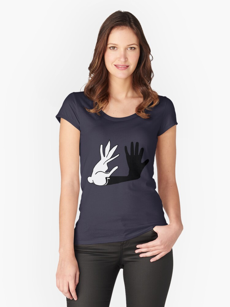 Easter Bunny Shadow Puppet Women's Fitted Scoop T-Shirt Front