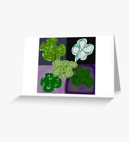 Quintet of Clovers Greeting Card