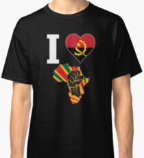 I Love Africa Map Black Power Angola Flag T-Shirt Classic T-Shirt