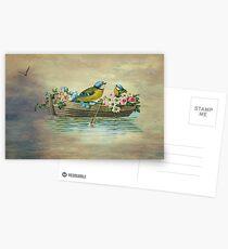 Birds In Boat Fantasy Postcards