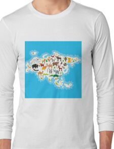 Eurasia Animal Map Long Sleeve T-Shirt