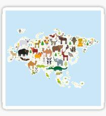 Eurasia Animal Map light blue Sticker
