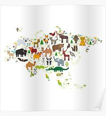 Eurasia Animal Map Simple Poster