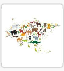 Eurasia Animal Map Simple Sticker