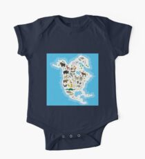 Northern America Animal Map Kids Clothes