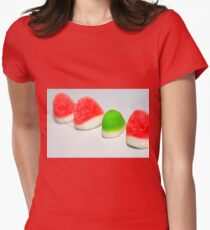 A line of red colourful sugared jelly sweets with one green one in the centre T-Shirt