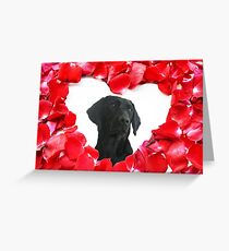 Black Labrador Dog Roses Heart  Greeting Card