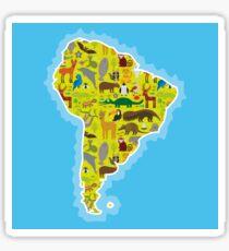 South America Animal Map Green Sticker
