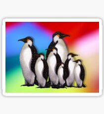 Penguin Family in Snow on Multi-Colored Background Sticker