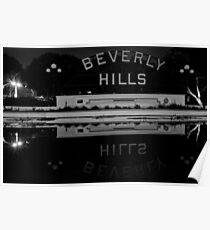 Beverly Hills Sign (Black and White) Poster
