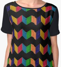 Geometric Composition with Colorful Popsicle Sticks  Women's Chiffon Top