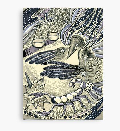 Raven, libra and a scorpio. Canvas Print
