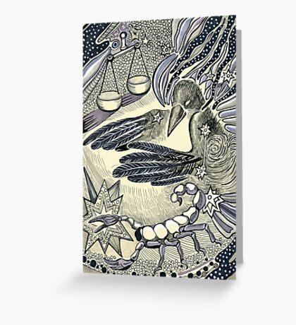 Raven, libra and a scorpio. Greeting Card