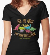 Dino Collection Women's Fitted V-Neck T-Shirt