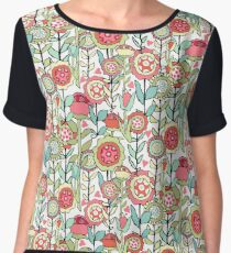 Fantasy Floral Pattern in Bright Pinks, Blues & Greens on White Chiffon Top