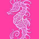 Intricate Pink Tribal Seahorse Design  von jeff bartels