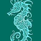 Komplizierte Teal Blue Tribal Seepferdchen Design von jeff bartels