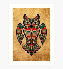 Red and Teal Blue Haida Spirit Owl Art Print