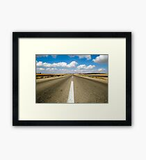 Australian, western New South Wales, Endless road to nowhere running into the horizon blue sky with clouds  Framed Print