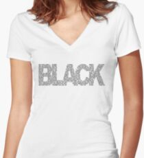 B L A C K Women's Fitted V-Neck T-Shirt
