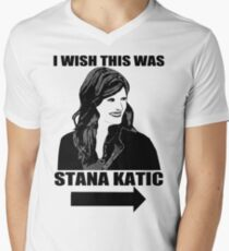 I Wish This Was Stana Katic Men's V-Neck T-Shirt