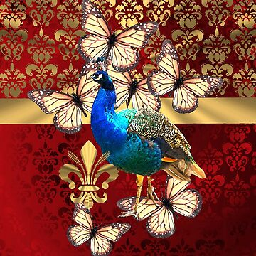 Peacock and butterflies on damask by oconnart