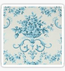 Shabby chic,floral,antiqued,pattern,baby blue,off white,rustic Sticker