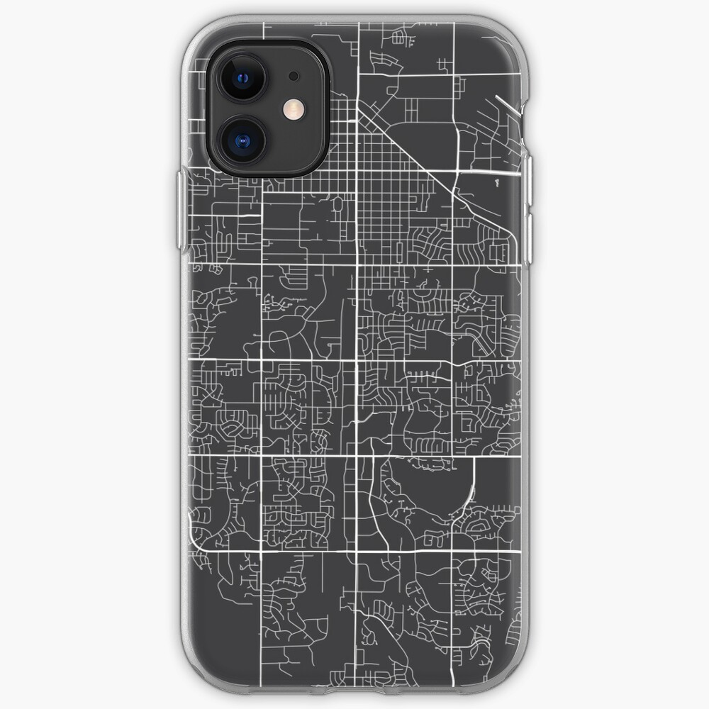 Fort Collins Map, USA - Gray iPhone Case & Cover