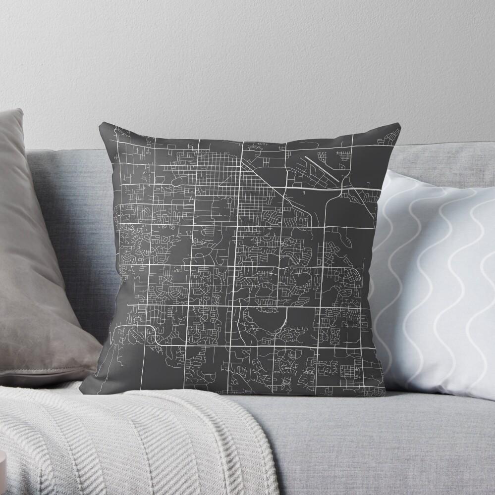 Fort Collins Map, USA - Gray Throw Pillow