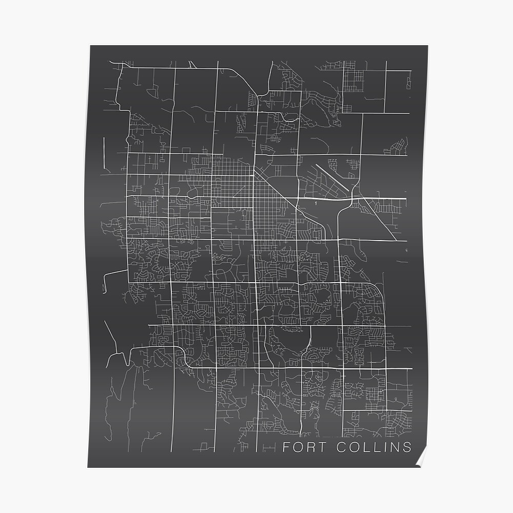 Fort Collins Map, USA - Gray Poster