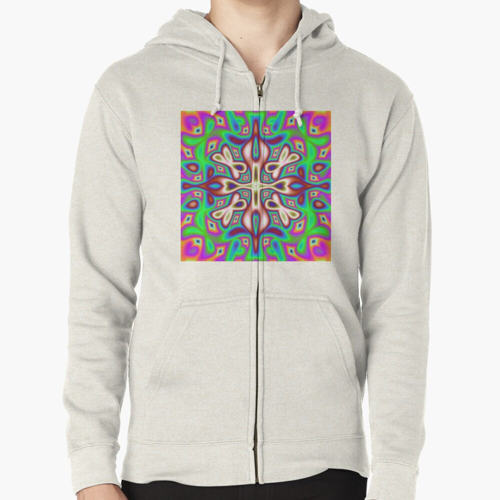 nine-dimensional flower Zipped Hoodie