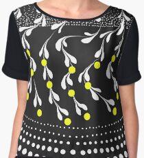 black ad white lemon tree Chiffon Top