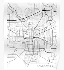Tallahassee Map, USA - Black and White Poster