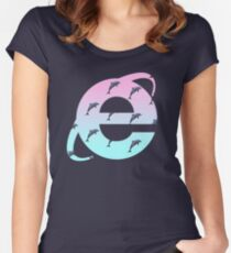 Vaporwave | Dolphins | Internet Explorer | HIGH QUALITY! | NEW! Women's Fitted Scoop T-Shirt