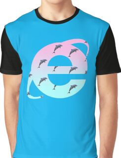 Vaporwave | Dolphins | Internet Explorer | HIGH QUALITY! | NEW! Graphic T-Shirt