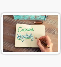 Handwritten text Exercise Regularly Sticker