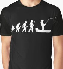 Funny Evolution Of Man and Boat Fishing Graphic T-Shirt