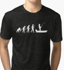 Funny Evolution Of Man and Boat Fishing Tri-blend T-Shirt
