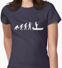 Funny Evolution Of Man and Boat Fishing Women's Fitted T-Shirt