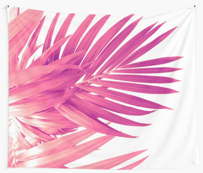 Quot Pink Palm Leaves Quot Wall Tapestries By Cafelab Redbubble