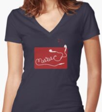 Music Earbuds Women's Fitted V-Neck T-Shirt