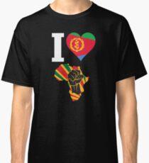 I Love Africa Map Black Power Eritrea Flag T-Shirt Classic T-Shirt