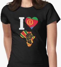 I Love Africa Map Black Power Eritrea Flag T-Shirt Women's Fitted T-Shirt