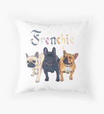 Three dogs French Bulldog breed Throw Pillow