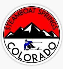 STEAMBOAT SPRINGS COLORADO Ski Skiing Mountain Mountains Skiing Skis Silhouette Snowboard Snowboarding Sticker