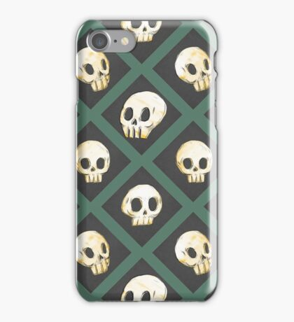 Tiling Skulls 3/4 - Green iPhone Case/Skin