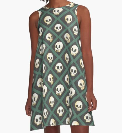 Tiling Skulls 3/4 - Green A-Line Dress