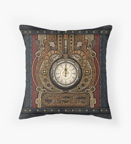 Steampunk Vintage Time Machine Throw Pillow