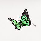 Green Butterfly Throw Pillow by Kevin Dellinger